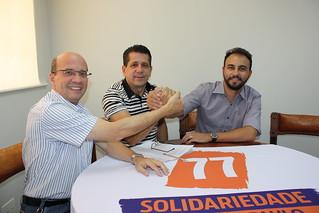 O deputado federal João Dado, o presidentes estadual David Martins, e o pré-candidato a deputado estadual Alexandre Pereira