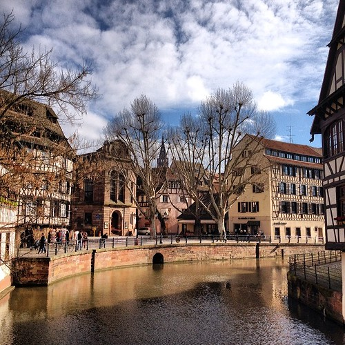 A view from my croissant and café au lait. Our French morning routine. La Petite France, #Strasbourg.