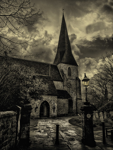 St Mary's Church Horsham sepia