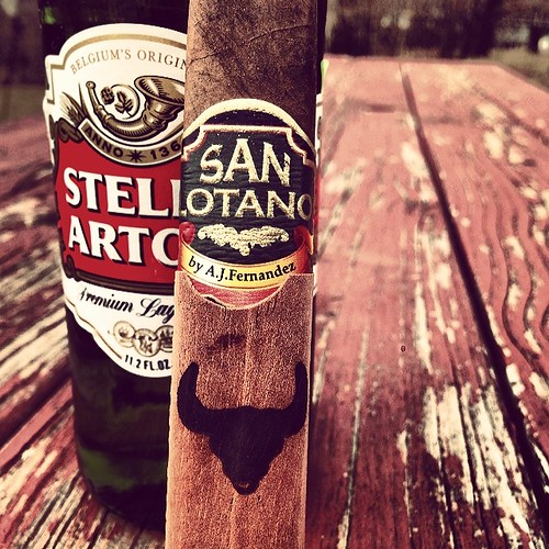 Must be going by Guam time. Stella with A @ajfcigars The Bull with The Chief (my dad).