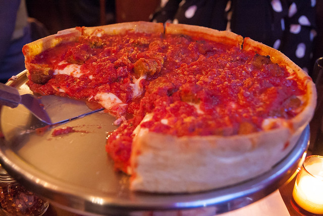 Deep-dish pizza with sausage, Emmett's