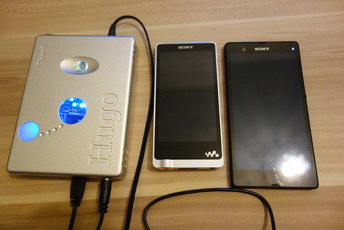 Size reference: Chord Hugo next to Sony NW-ZX1 and Sony Xperia Z