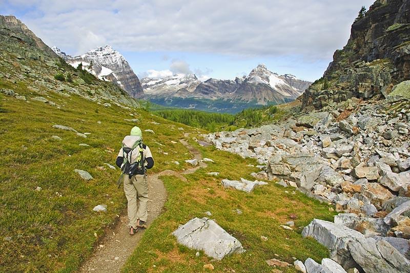 Hiking near Lake OHara, Yoho National Park, British Columbia, Canada.