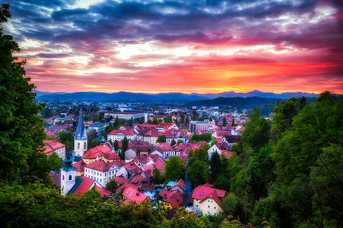 city travel sunset red urban orange castle landscape town colorful europe cityscape view scenic culture roofs adventure slovenia ljubljana