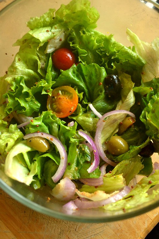 Green Salad with Grapes, Cherry Tomatoes, Onions and Mustard - Balsamic Vinaigrette