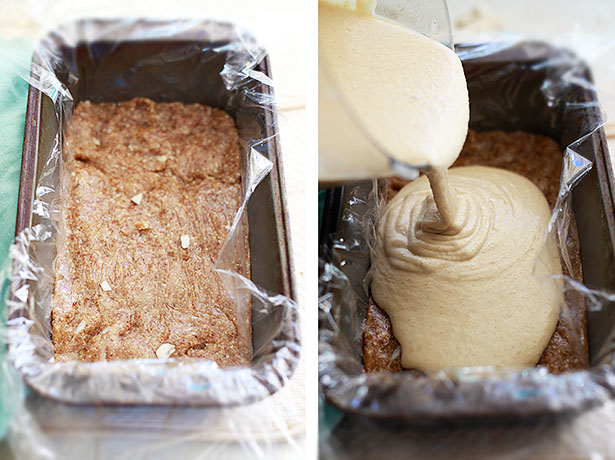 The cashew vegan cheesecake base gets poured into a loaf pan.