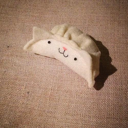 So, I made a cat dumpling. (Dumpling cat?) #yesimaweirdo #migrationgoods #handsewn #felt