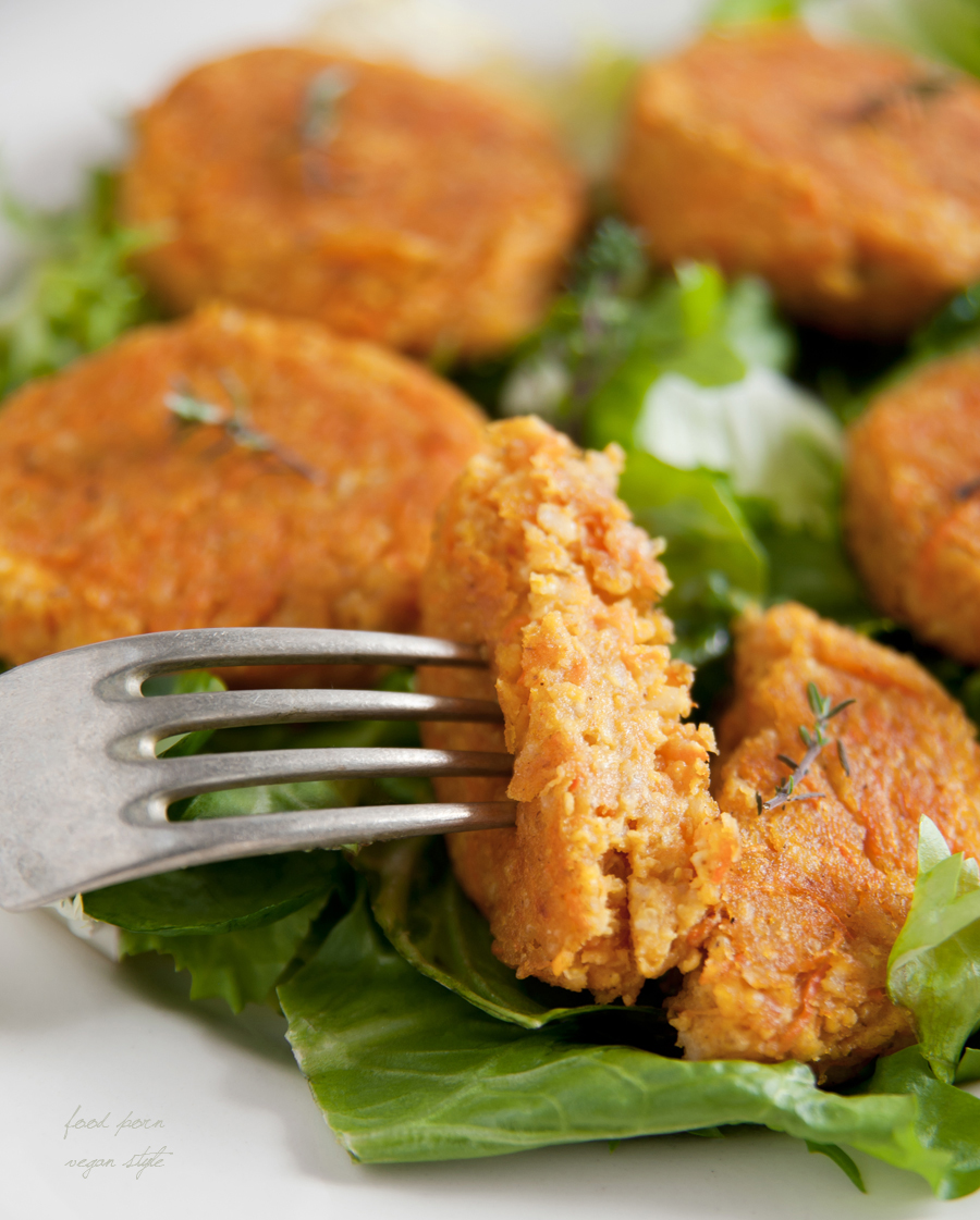 Aromatic vegan patties with carrot and millet