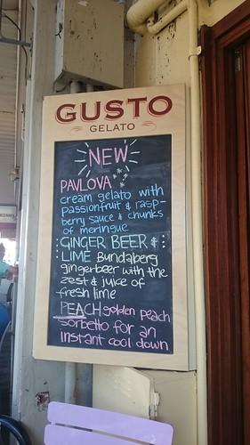 Gusto Gelato menu