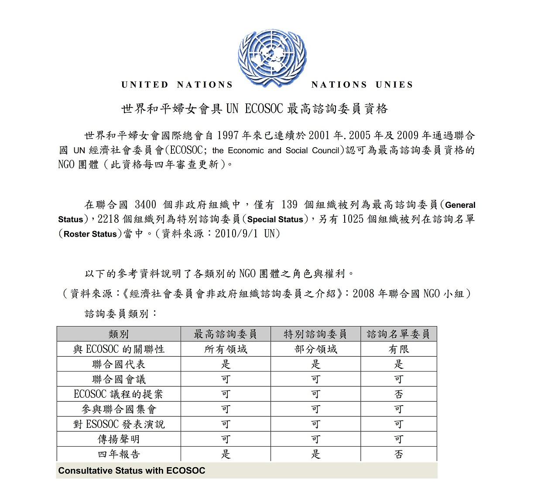 世界和平婦女會為聯合國EC0SOC最高諮詢地位委員1
