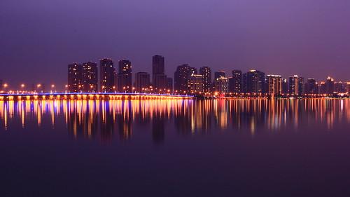china longexposure bridge sunset colour reflection water skyline night lights asia suzhou shanghai violet jiangsu sip jinjihu eos60 dongfangzhimen