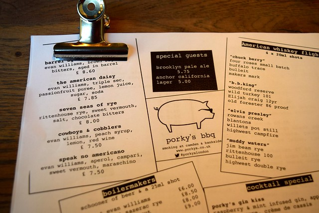 Drinks Menu at Porky's BBQ, Bankside