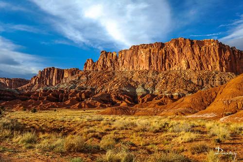 park sky orange cloud rock soleil utah lumière pierre erosion bleu national nuage torrey roche couché étatsunis