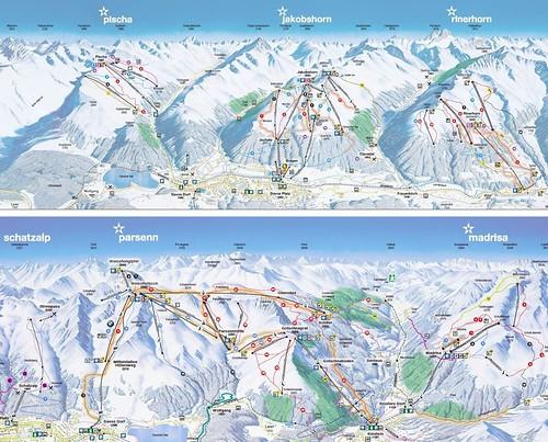 Davos Klosters - mapa sjezdovek