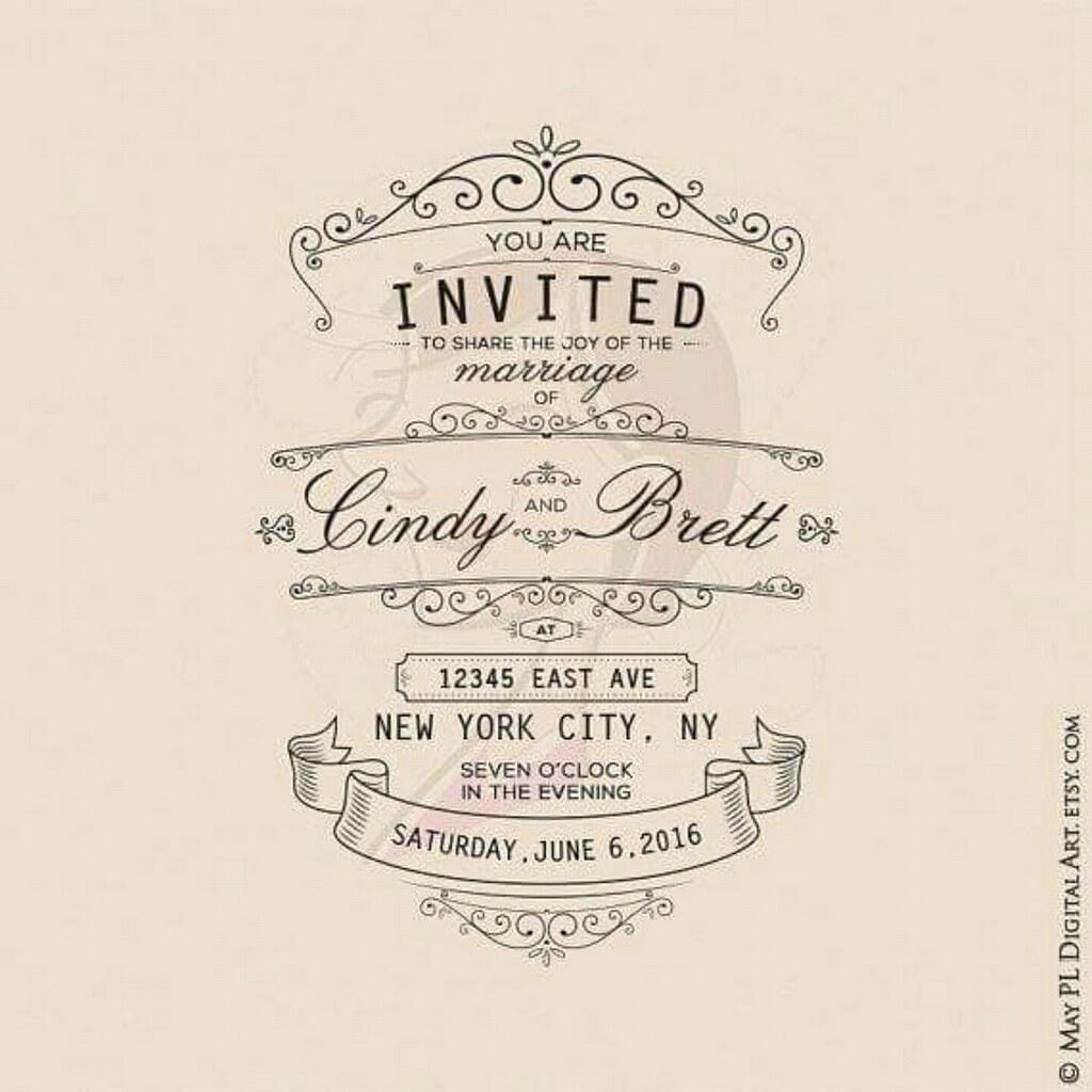 Vintage Style Wedding Frame And Banner Clip Art Set: Gl Frames Wedding Invitation At Websimilar.org