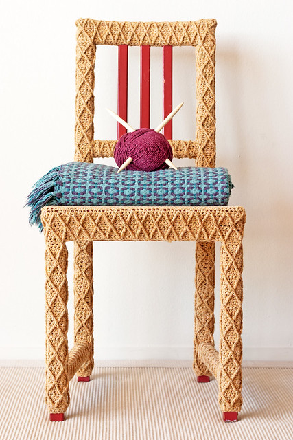 Yarn Bombed Crochet Chair by Knits for Life yellow close