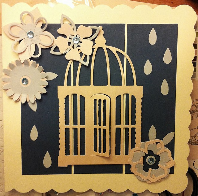 flower dies - cream and blue birdcage card