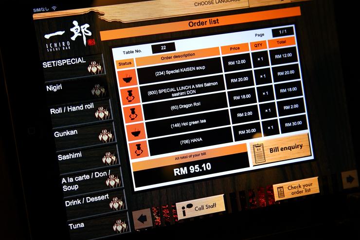Ichiro Sushi Bar Order-List