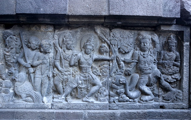 The stone relief carvings tell amazing stories from the Ramayana epic
