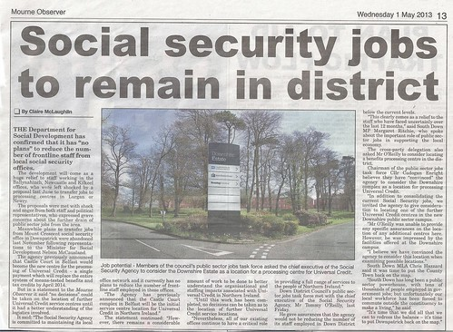 1st May 2013 Social Security Jobs Saved
