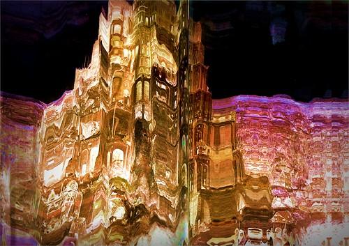 Babel tower at night