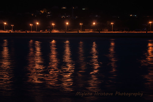 light sea summer black horizontal night reflections sand view bulgaria varna