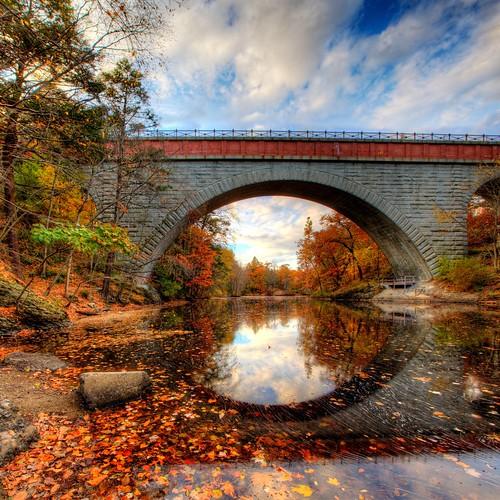 bridge reflection landscape massachusetts echo falls foliage upper hdr newton stas upperfalls echobridge burdan hemlockgorge stasburdan