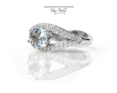 Aquamarine Eye Diamond 14K Gold Ring