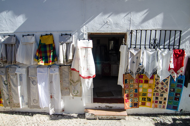 Vendors selling their wares in Ronda, Spain.