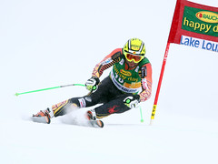 Manuel Osborne-Paradis skis his way to a 12th place finish in the super-G at the FIS Alpine World Cup in Lake Louise, CAN