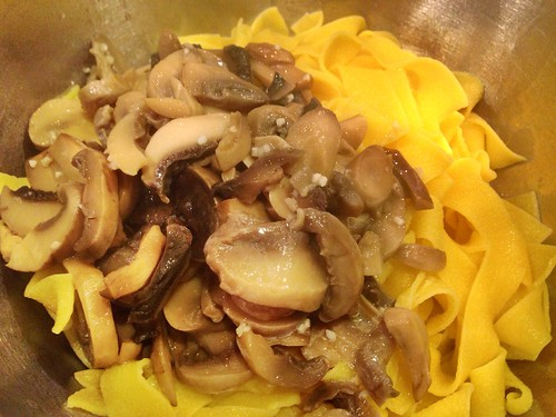 My #CondoSeniors are mixing the mushroom sauce with pappardelle - yum