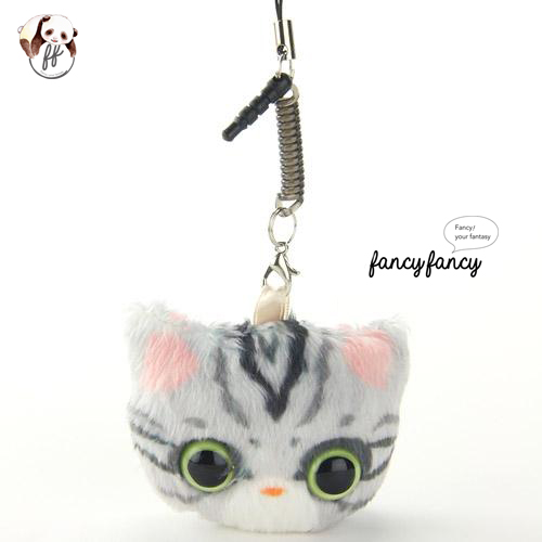 38.療癒貓臉手機吊飾+螢幕擦拭布-灰貓