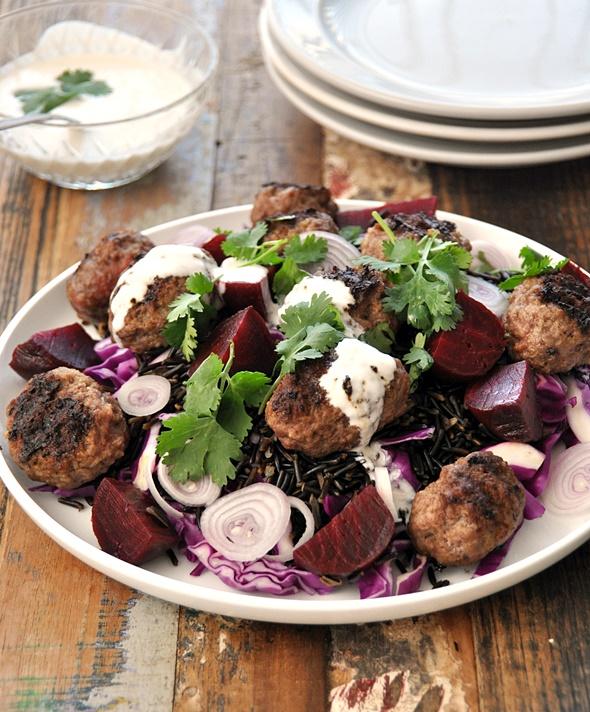 Wild rice, baby beetroot & beef kofta salad (ft.  Lovebeets Baby Beetroot) | www.fussfreecooking.com