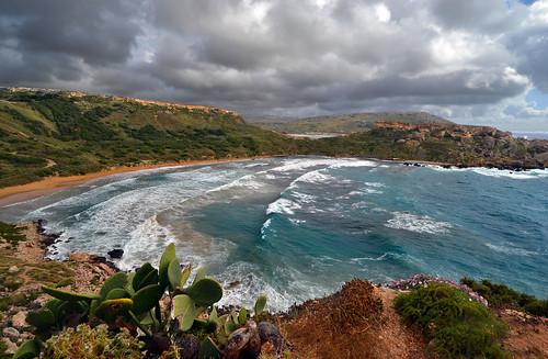 sea seascape mediterranean surf day waves cloudy shoreline malta shore seashore ghajntuffiehabay ghajntuffieha malteselandscape għajntuffieħa maltesecountryside