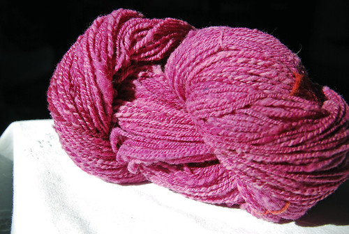 Handspun Columbia wool roving on Canadian Production Wheel