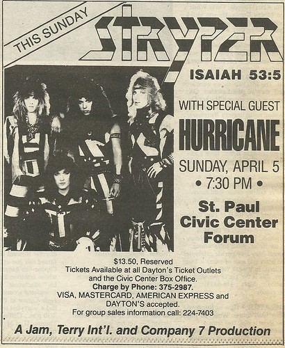 04/05/87 Stryper/ Hurricane @ St. Paul Civic Center Forum, St. Paul, MN