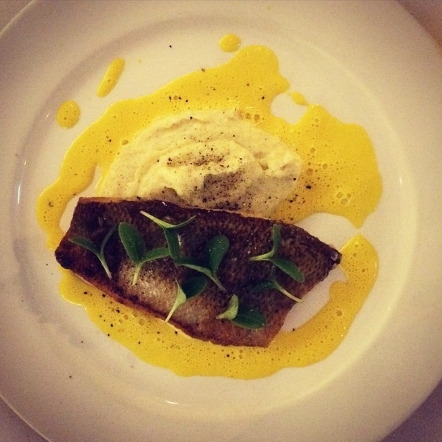 Pan-fried sea bream fillet was crispy on the outside, all natural and slightly salted on the inside. The mashed potatoes were creamy with vanilla and just a tinge of bourbon, great balance with the champagne-saffron emulsion. Again, a nice transition from