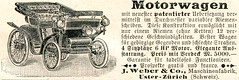 Werbeanzeige für einen Motorwagen der Firma J. Weber und Co. in Uster-Zürich, 1900