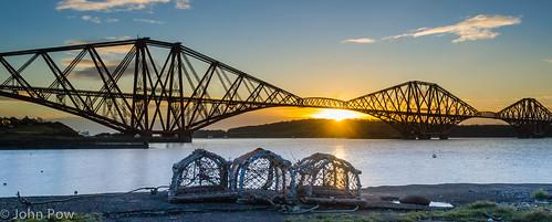 bridge sunrise river scotland unitedkingdom rail forth lobster creel kreel