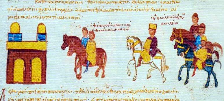 Triumph of Basil II through the Forum of Constantine, from the Madrid Skylitzes