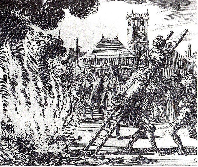 Burning of Dutch Anabaptist Anneken Hendriks, who was charged with heresy by Spanish Inquisition