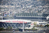 Aerial view of Oracle Arena and O.co Coliseum, Oakland, Alameda County, California