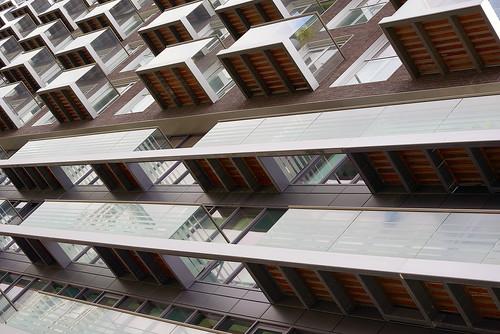 Balconies near Millwall Inner Dock, London, UK