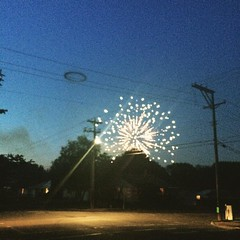 Fireworks from my front porch. The black smoke ring is my favorite.