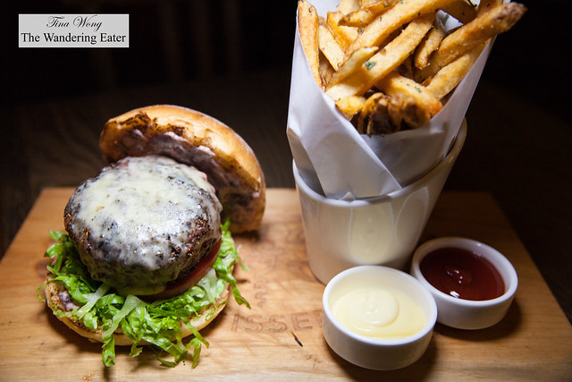 Burger Au Poivre - Madagascar & Malaysian peppercorn crust, Bordelaise aioli, potato bun, served with butcher's fries