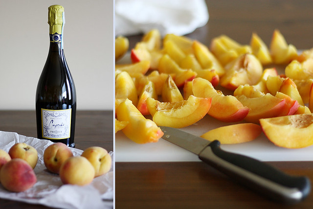 peaches + prosecco