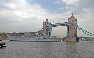 HMS Edinburgh at Tower Bridge London 07-05-2013