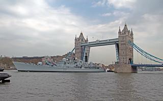 HMS Edinburgh at Tower Bridge London 07-05-2013