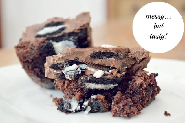 messydouble chocolate oreo brownie