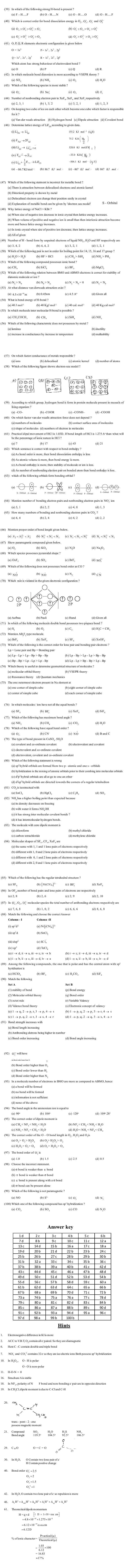 JEE and AIPMT Question Bank Chemistry - Chemical Bonding And Atomic Structure